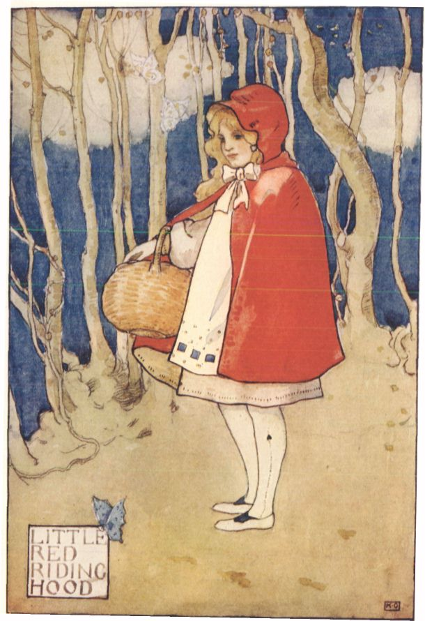 Little Red Riding Hood original book cover with a drawing of a girl in a red hood holding a basket