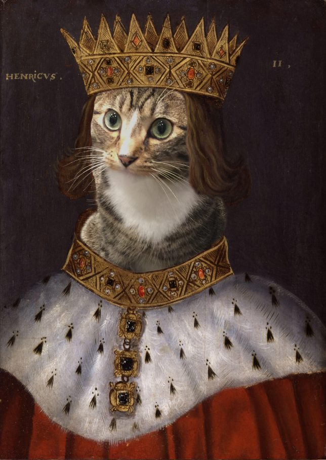 Painting of a King with a golden crown and golden necklace, except the King's face is replaced by that of a tabby cat. The robe is further down the cat's legs than in the first version of this image above.